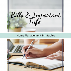 Bills & Important Info Printables
