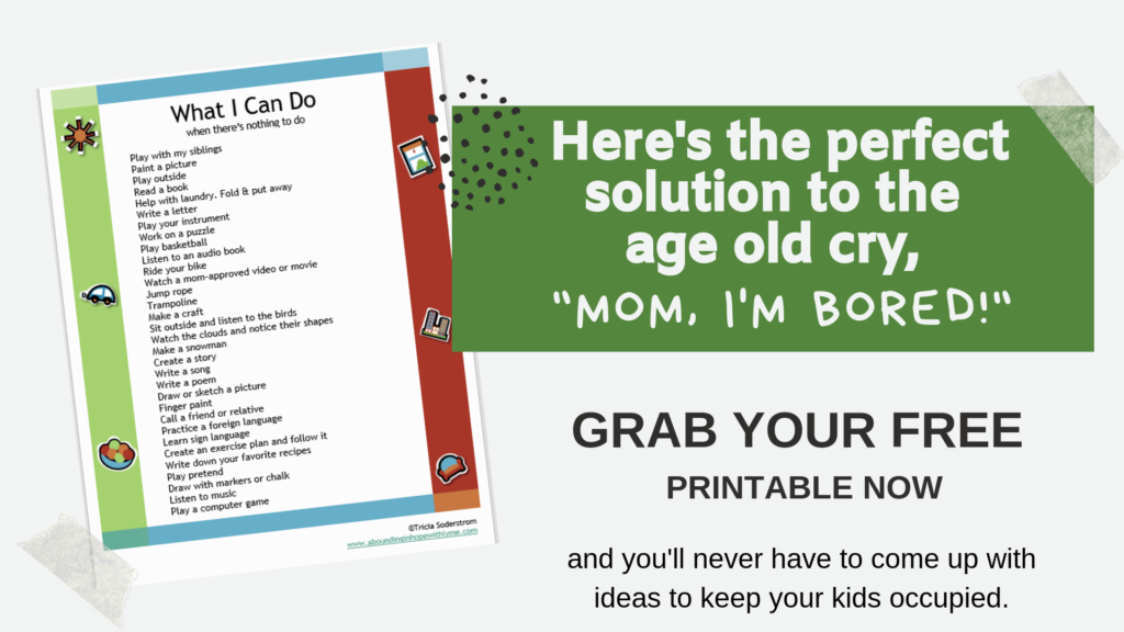 Free Printable What to Do When There's Nothing To Do